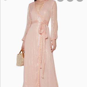 MISA MISHA Lurex Metallic braided wrap dress